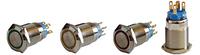 Кнопка металлическая с подсветкой TYJ 19-271 (1NO+1NC), желтая 24V