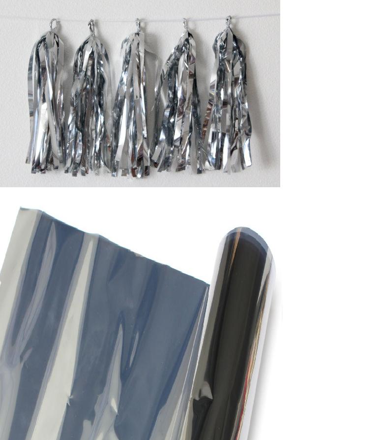 Пленка металлизированная серебряная (двухсторонняя) для гирлянд, кисточек