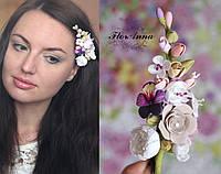 """""""Краски лета"""" заколка ручной работы с цветами. Цветы в прическу. Украшение для волос, фото 1"""