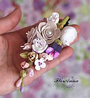 """Заколка с цветами """"Краски лета"""". Украшение для волос в прическу.  Подарок девушке на 8 марта"""