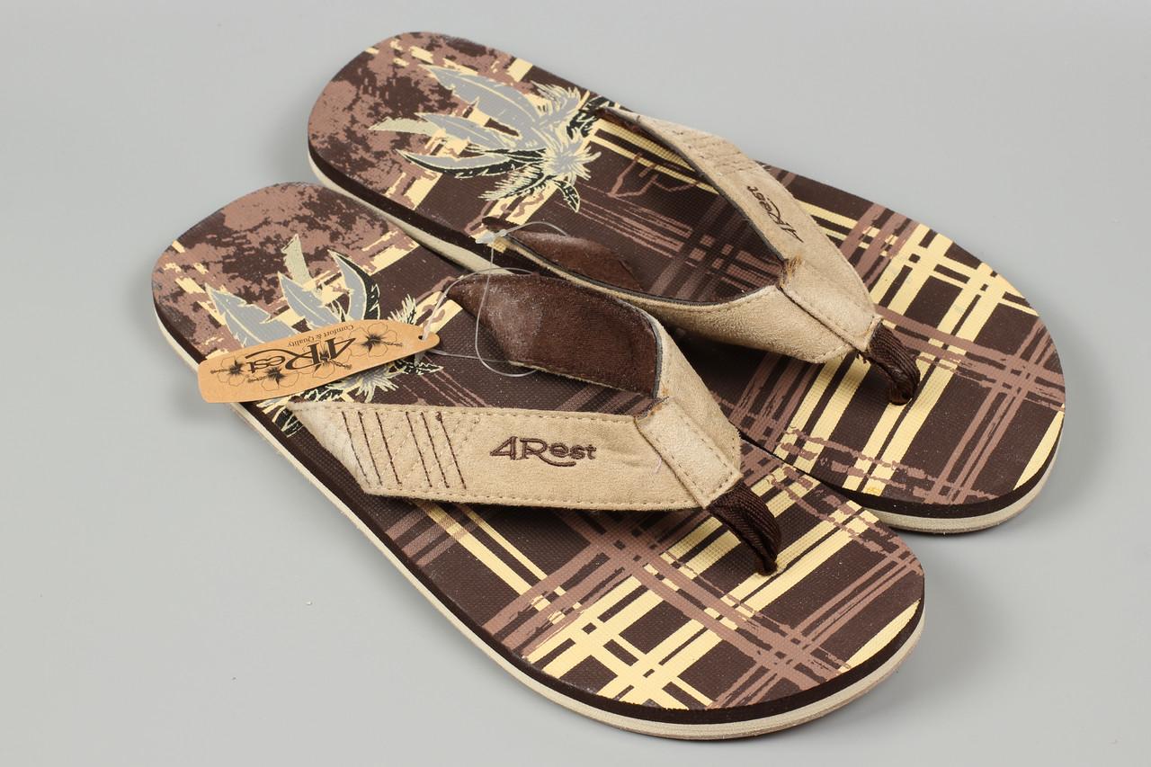 Вьетнамки шлепанцы мужские коричневые 4Rest Размеры 44