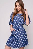 Женское красивое джинсовое платье с принтами (3 цвета)