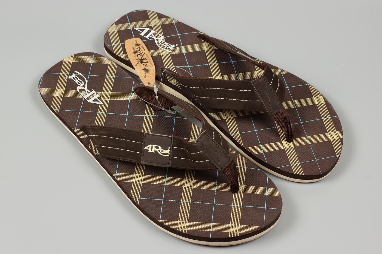 Вьетнамки шлепанцы мужские коричневые 4Rest Размеры 44 46
