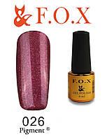 Гель-лак FOX № 026 (бордовый с розовым шиммером), 6мл