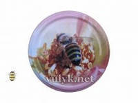 Крышка Твист-Офф на 82мм розовая с пчелой