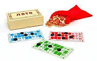 Настольная игра русское лото 7708 в деревянном футляре (коробке): 90 бочонков + 24 карточки