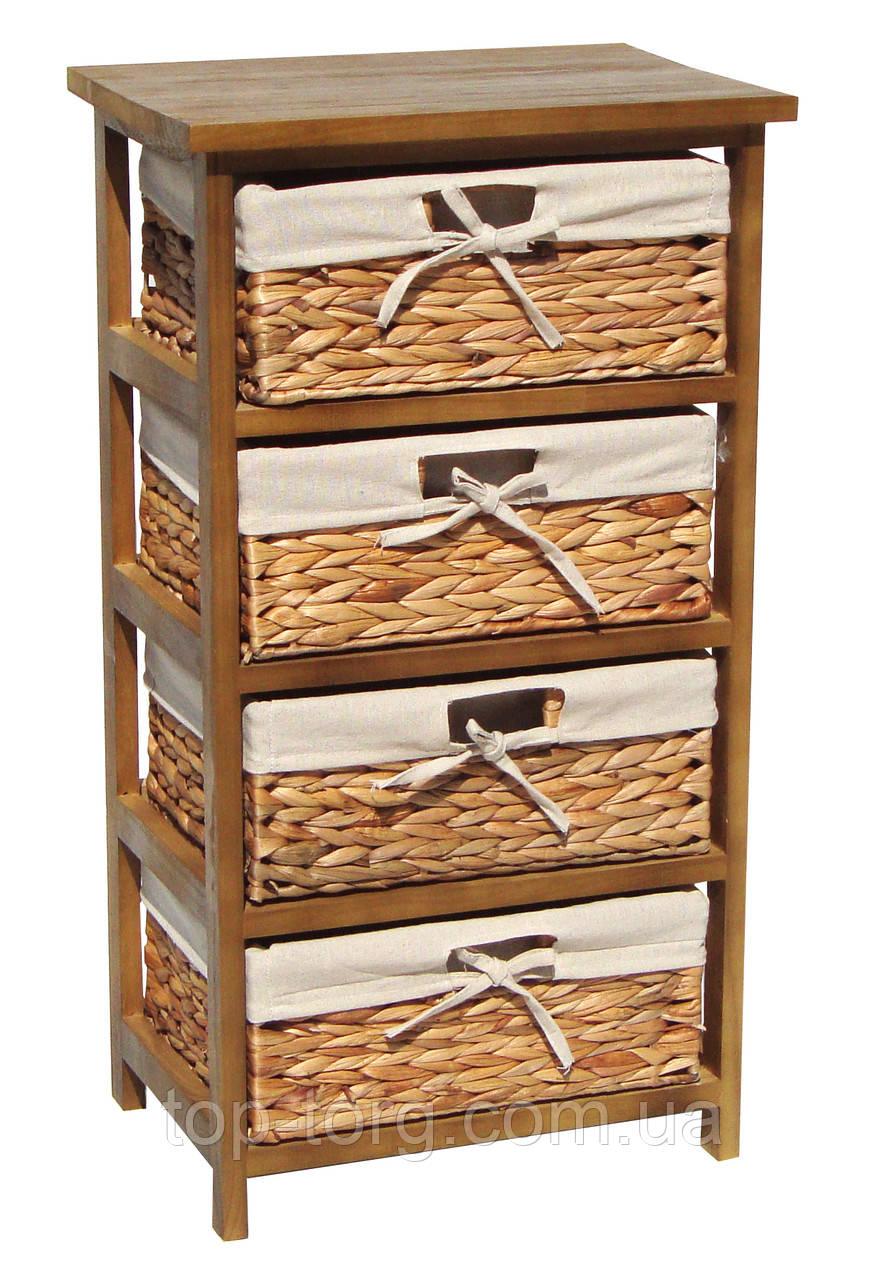 Комод Grace natural 4D деревянный с плетеными корзинками