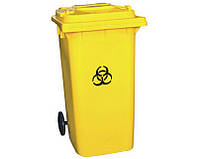 Бак для мусора пластиковый 360 л. Желтого цвета