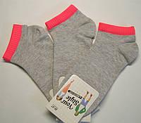 Носки летние короткие серого цвета с цветной резинкой женские