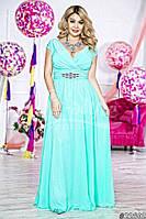 Элегантное женское платье в пол материал атлас и шифон, размер 48-52, украшено брошью. Цвет мята