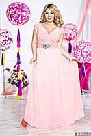 Элегантное женское платье в пол материал атлас и шифон, размер 48-52, украшено брошью. Цвет нежно розовый