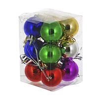 Набор глянцевых шаров 12 шт  |Серебро | Золото | Красный | Синий | Зеленый | Малиновый