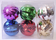 Набор новогодних елочных шаров граненых | Красный | Синий | Зеленый | Малин.| Золото | Серебро 6 см.