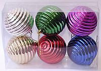 Набор новогодних елочных шаров фигурных | Красный | Синий | Зеленый | Малиновый | Золото | Серебро 6 см.