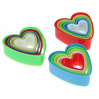 """Вырубка пластиковая """"Сердечки"""" набор из 5 форм"""