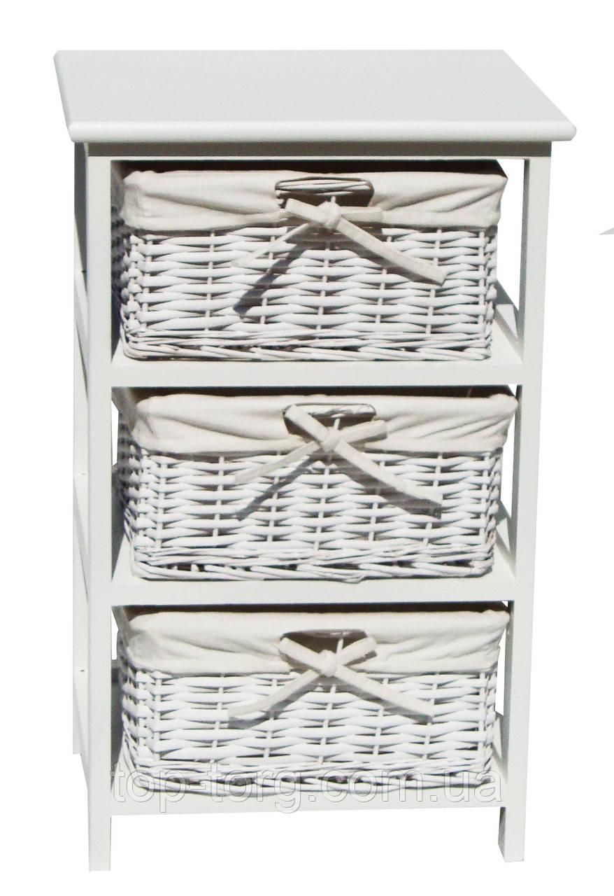 Комод Grace white 3D деревянный белый с плетеными ящиками