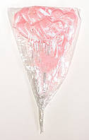 Сердце на палочке с бантиком и надписью | Pозовое (В упаковке 12 шт.)