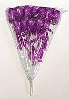 Сердце на палочке с блестками и бантиком | Cиреневый (В упаковке 12 шт.)