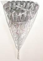 Полое сердце на палочке с блестками и бантиком | Серебро (В упаковке 12 шт.)