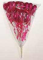 Полое сердце на палочке с блестками и бантиком | Малиновый (В упаковке 12 шт.)