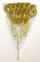 Полое сердце на палочке с блестками и бантиком | Золото (В упаковке 12 шт.)