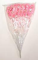 Полое сердце двойное на палочке с блестками, рюшами, розочками и бантиком | Розовый (В упаковке 12 шт.)