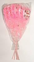 Сердце на палочке с надписью, рюшами, цветочками и бантиком | Розовый (В упаковке 12 шт.)