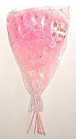 Сердце на палочке с надписью, рюшами, цветочками и бантиком | Бледно розовый (В упаковке 12 шт.)