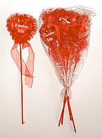 Сердце на палочке с надписью, рюшами, цветочками и бантиком | Красный (В упаковке 12 шт.)