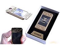 """Спиральная USB зажигалка """"Chanel"""" №4810-4 с фонариком, модный и стильный гаджет, станет хорошим подарком другу"""
