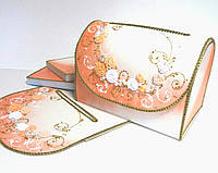 Сундучок свадебный для денег персиковый