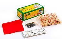Настольная игра русское лото 9098 в картонном футляре (коробке): 90 бочонков + 24 карточки