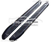 Подножки площадки для Hyundai Santa Fe с окантовкой из нержавейки (стиль Elegand Black)