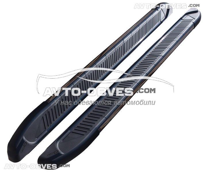 Боковые площадки для Hyundai Santa Fe с окантовкой из нержавейки (стиль Elegand Black CanOto)