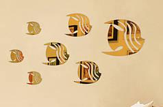 """Наклейка в ванную, акриловые наклейки, украшения стены наклейки """"зеркальные полосатые рыбки 7шт набор"""" золото"""