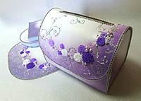 Сундучок свадебный для денег фиолетовый