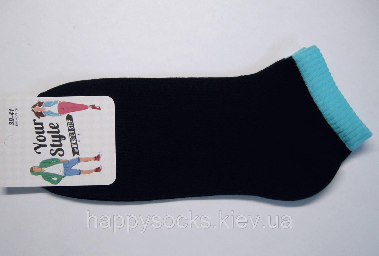 Летние короткие носки темно-синего цвета с цветной резинкой