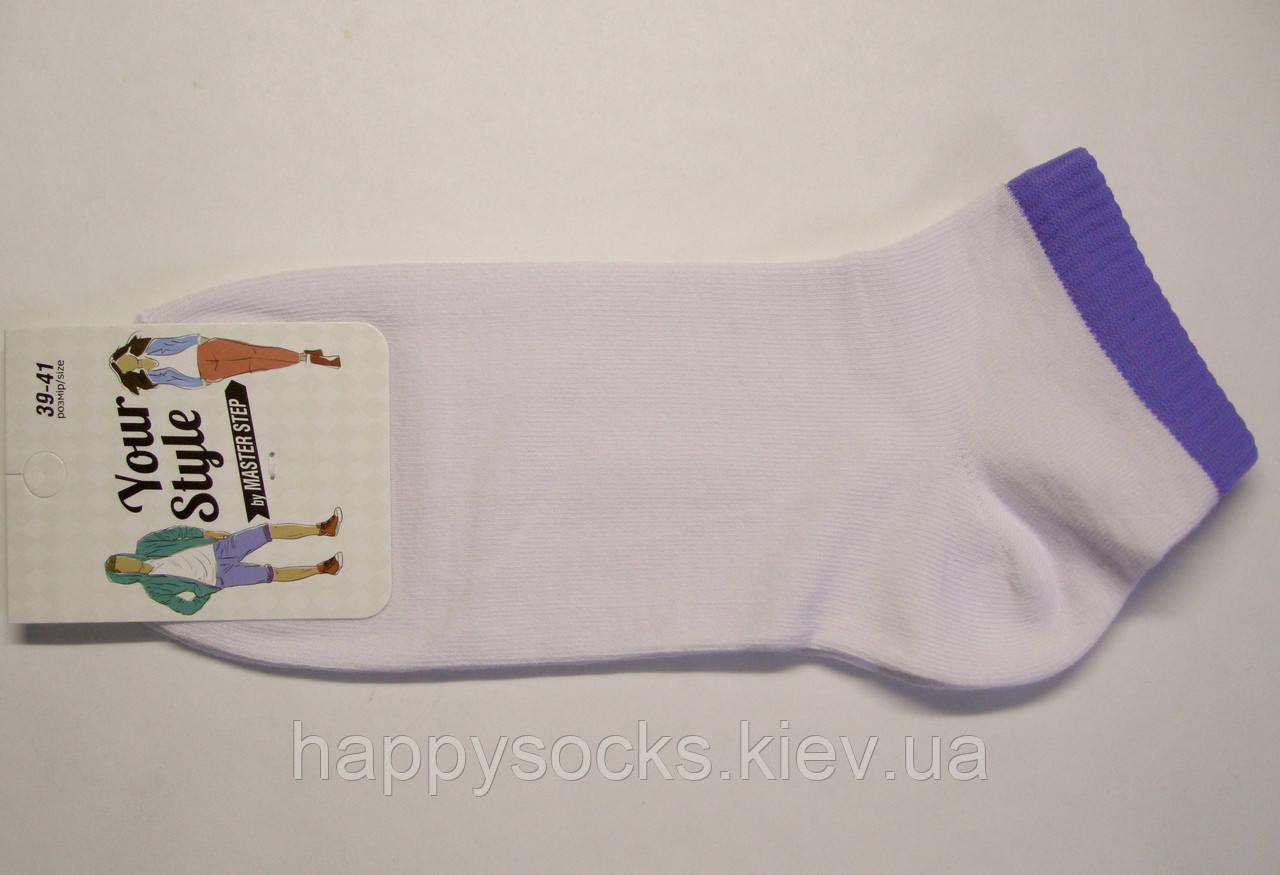 Короткие носки белого цвета с цветной резинкой для мужчин