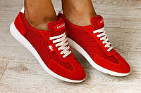 Женские кроссовки, замшевые, красные, в сеточку, с белыми шнурками, на белой подошве