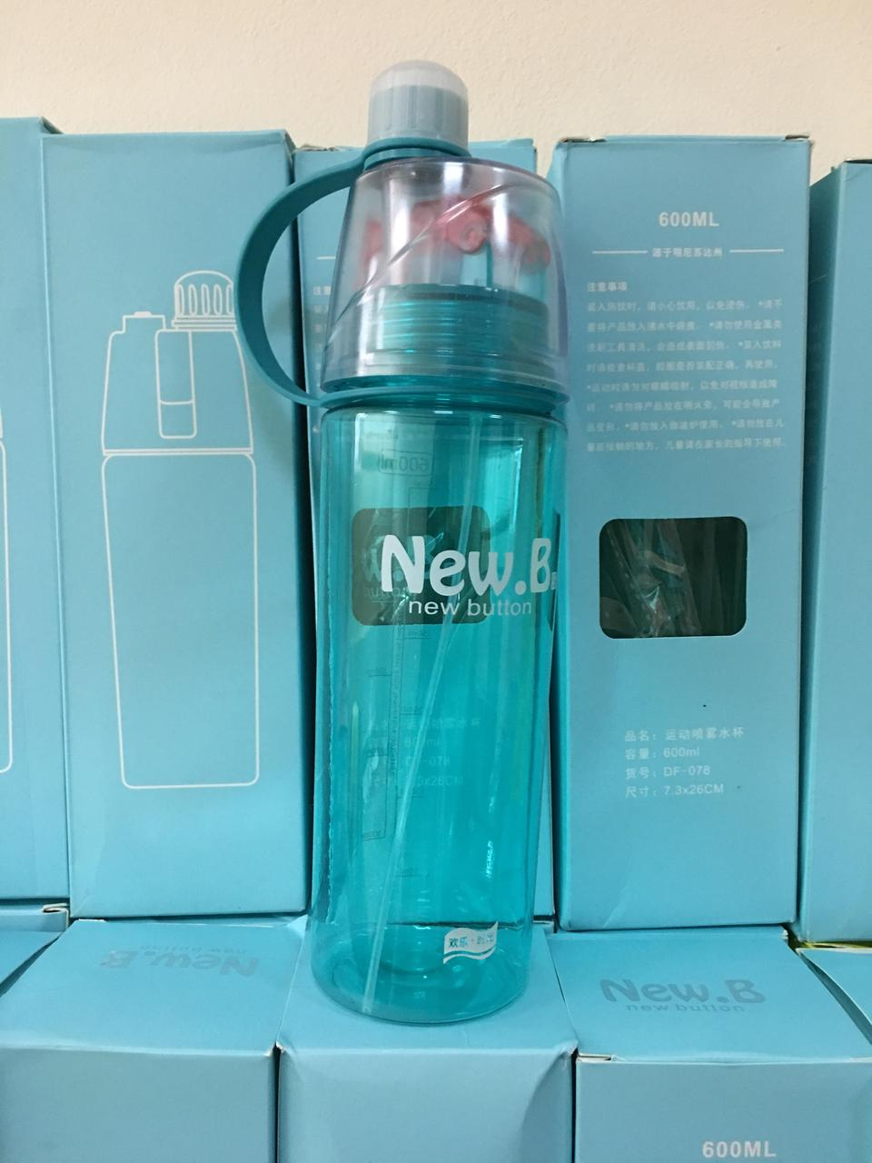 Спортивная фитнес спреер Бутылка New B. Green ( New Button Bottle) 600 мл c дозатором и шкалой Уценка