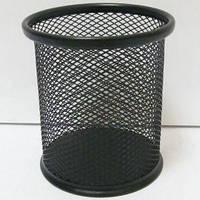 Подставка для ручек сетка-металл 7840-B (9,8х8см) Круглая черная