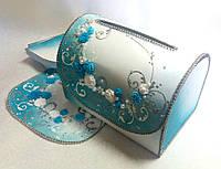 Сундучок свадебный для денег, цвет бирюзовый