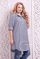 Женская удлиненная рубашка платье Коттон Размеры 54-60