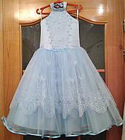 Блестящее нежно-голубое детское платье-американка на 4-6 лет
