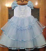 Блестящее нежно-голубое детское платье с кристаллами Swarovski на 4-6 лет