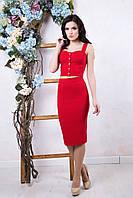 Летний женский красный костюм Эксклюзив ТМ Irena Richi 42-46 размеры