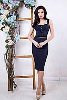 Летний женский темно-синий костюм Эксклюзив ТМ Irena Richi 42-46 размеры