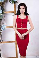 Летний женский бордовый костюм Эксклюзив ТМ Irena Richi 42-46 размеры