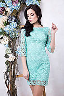 Красивое женское мятное платье Ажур ТМ Irena Richi 42-48 размеры