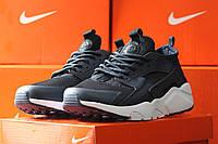 Мужские кроссовки Nike Huarache, темно синие с белым / кроссовки мужские Найк Хуарачи, плотная сетка, 2017